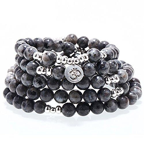 ZHEPIN 8MM Flash Stone 108 Mala Beads Charm Bracelet for Men Women Yoga Bracelet Necklace