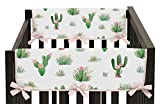 Pink and Green Cactus Floral Side Crib Rail Guards Baby Teething Cover Protector Wrap Boho Watercolor for Collection by Sweet Jojo Designs - Set of 2