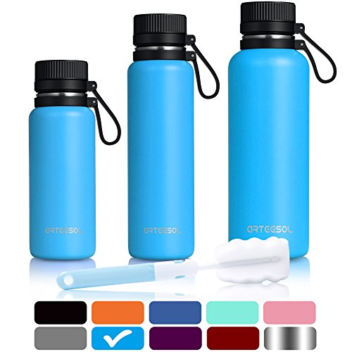b076beb9ee60 Water Bottles ARTEESOL 34 oz / 1000 ml BPA Free Vacuum Insulated 18/8  Stainless Steel Leak-proof Double-Walled Wide Mouth Thermos for Sports Gym  ...