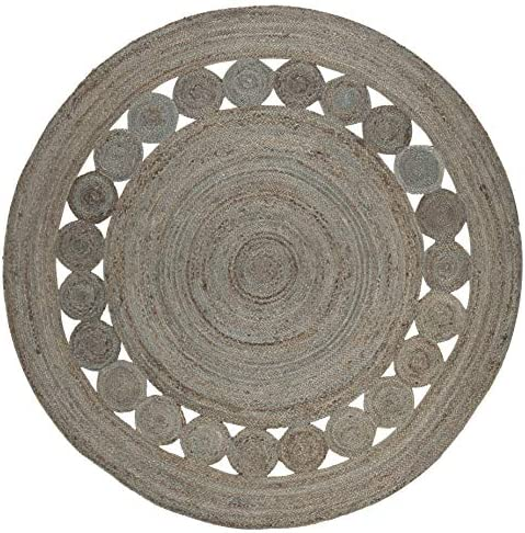 Safavieh Natural Fiber Collection Grey Jute Round Area Rug, 6