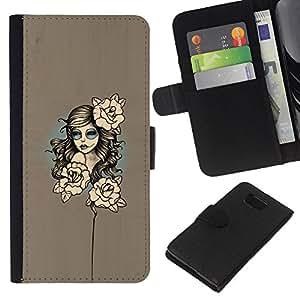 YiPhone /// Tirón de la caja Cartera de cuero con ranuras para tarjetas - Mujer floral - Samsung ALPHA G850