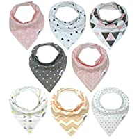Baby Bandana Drool Bib Set of 8 for Girls, Organic Super Absorbent, Soft, & C...