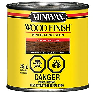 Minwax 279 Wood Stain Oil Base Interior Dark Walnut Transparent 1/2 Pt