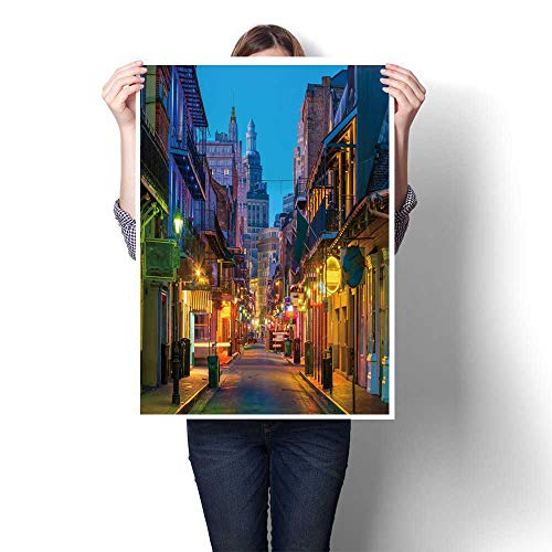 1-Piece 100% Paintings Pubs and Bars with neon Lights in The French Quarter New Orleans USA Oil Painting,20