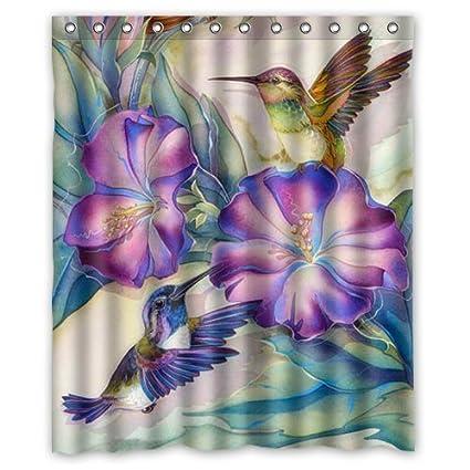Mirryderr Hot Sale Shop Custom Waterproof Polyester Bathroom Fabric Shower  Curtain Decor Beautiful Hummingbird Print