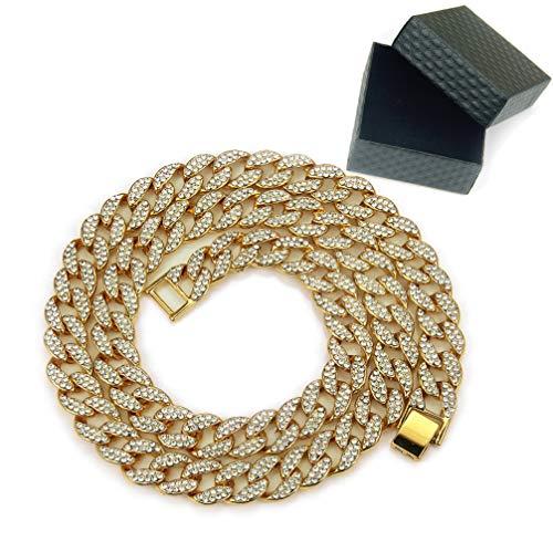 WANZIJING Man's Necklace, Hip Hop MIced Out Cuban Miami Diamond Choker Chain Fashion Necklace, Gold,16''