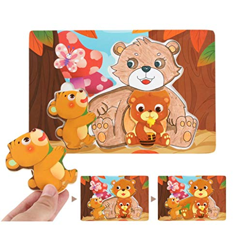 Fiaya Cute Painting Graffiti Wooden Drawing Board Animal Block Puzzle Child Educational Toy - Bear, Frog, Chicken, Penguin, Koala,Owl,Cat,Dolphin,Panda,Hippocampus ()