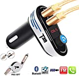 [2018] T3MCO FM Transmitter, Bluetooth FM Transmitter for Car, 2 USB Ports Charger Support USB Flash Drive, Car MP3 Player, Car Kit with Hands Free Calling, Wireless Bluetooth