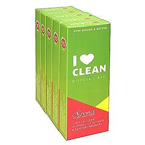 Sanitary & Diapers Disposal Bag by SIRONA (75 Pcs - 5 Packs)