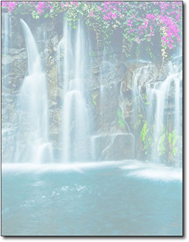 Waterfall Stationery Paper - 80 Sheets - Peaceful Nature & Floral Letterhead by Desktop Publishing Supplies, Inc.