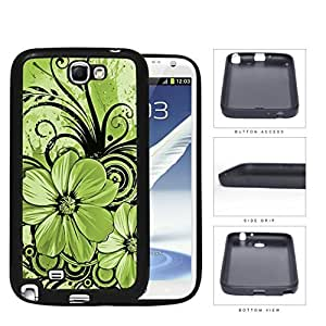 Pretty Floral Abstract Art (GREEN) Samsung Galaxy Note II 2 N7100 Rubber Silicone TPU Cell Phone Case