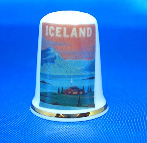 Birchcroft Porcelain China Collectable Thimble - Travel Poster Iceland Birchcroft China