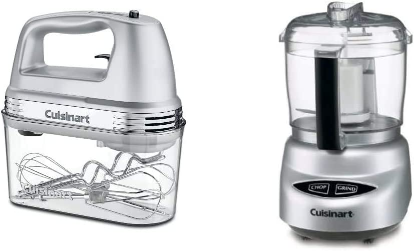 Cuisinart HM-90BCS Power Advantage Plus 9-Speed Handheld Mixer with Storage Case, Brushed Chrome & DLC-2ABC Mini Prep Plus Food Processor Brushed Chrome and Nickel