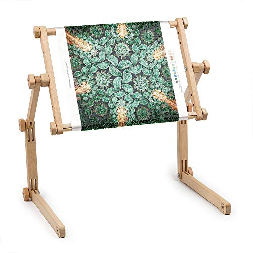 "Needlework Table and Lap Hands-Free Stand with Adjustable Frame Made of Organic Beech Wood Tapestry Cross Stitch Embroidery Frame Holder (25x32 cm (9.8"" х 12""))"