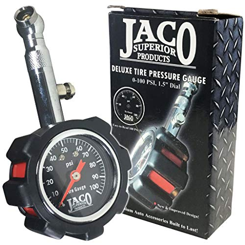 JACO Deluxe Tire Pressure Gauge - 100 PSI (Bike Gauge Tire)