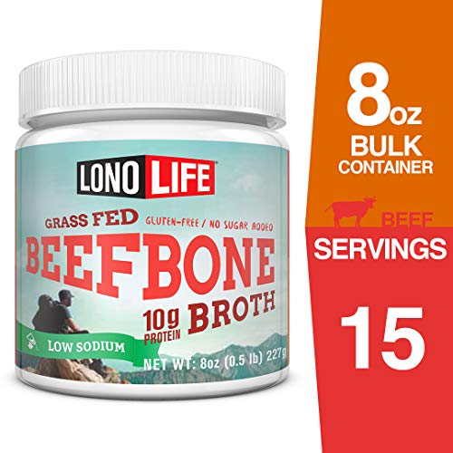 LonoLife Low-Sodium Grass-Fed Beef Bone Broth Powder with 10g Protein, 8-Ounce Bulk Container