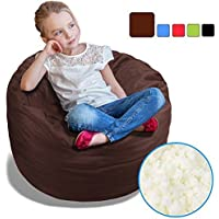 BeanBob Bean Bag Chair (Espresso Brown), 2.5ft - Bedroom Sitting Sack for Kids w/Super Soft Foam Filling