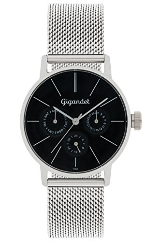 Gigandet Women's Quartz Watch Minimalism Multifunction Analog Mesh Bracelet Silver Black G38-006