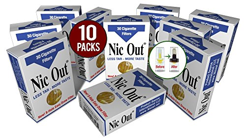 Nic-Out Cigarette Filters 10 Packs (300 Filters) Smoking Free Tar & Nicotine Disposable Nic-Out Holders for Smokers DON'T QUIT SMOKING Nicfree