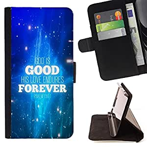 BullDog Case - FOR/Apple Iphone 6 / - / GOD IS GOOD AND HIS LOVE ENDURES FOREVER /- Monedero de cuero de la PU Llevar cubierta de la caja con el ID Credit Card Slots Flip funda de cuer