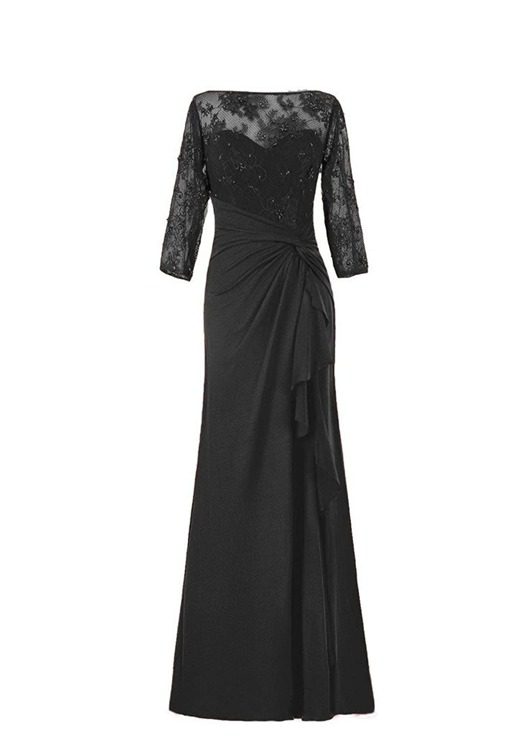 HWAN Long Sleeve Chiffon Lace Mother of Bride Dresses Plus Size Formal Gowns