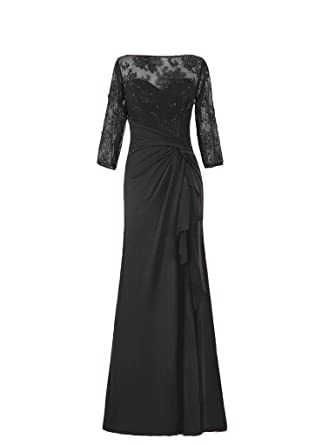 HWAN Long Sleeve Chiffon Lace Mother of Bride Dresses Plus Size Formal Gowns Black UK8