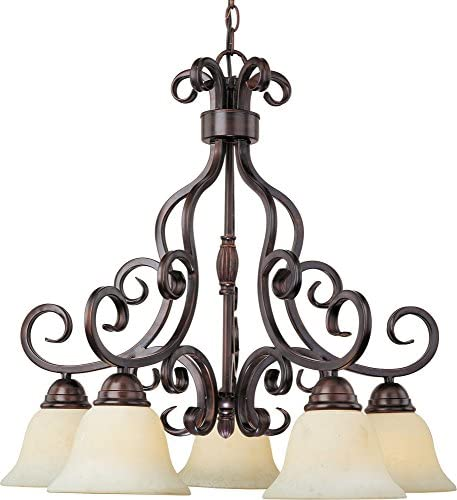Maxim 12206FIOI Manor 5-Light Chandelier, Oil Rubbed Bronze Finish, Frosted Ivory Glass, MB Incandescent Incandescent Bulb , 100W Max., Dry Safety Rating, Standard Dimmable, Opal Glass Shade Material, 3450 Rated Lumens