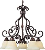 Maxim 12206FIOI Manor 5-Light Chandelier, Oil Rubbed Bronze Finish, Frosted Ivory Glass, MB Incandescent Incandescent Bulb , 100W Max., Dry Safety Rating, Standard Dimmable, Opal Glass Shade Material, 3450 Rated Lumens Review