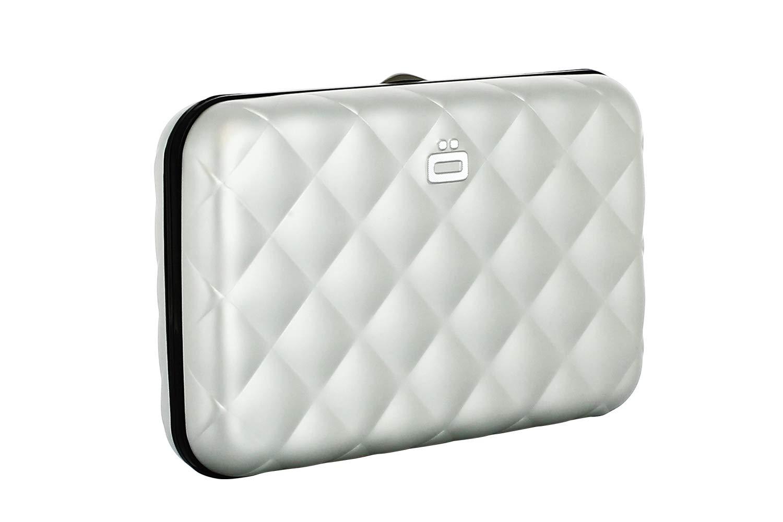 Ögon QB-Silver Tarjetero Quilted Button Cartera de Aluminio ...