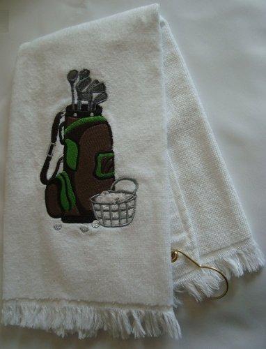 ホワイトゴルフバッグデザイン刺繍ゴルフタオルwith Grommet 16 x 26でで   B00HUDS8H2