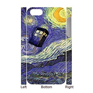 3D Van Gogh Series,iPhone 4/4s Case,Van Gogh Art The Tardis Phone Case For iPhone 4/4s[White] by ruishername