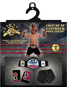 Rubie's - Kit de accesorios de luchador de pressing catch (lucha libre) con antebrazos, cinturón y pantalón para niño