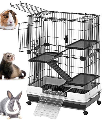 Mcage Large Luxury Indoor Outdoor Guinea Pig Chinchilla Ferret Squirrel Cat Rabbit Bunny Hutch House Small Animal Habitat Casters