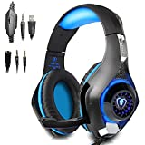 Beexcellent Gaming Headset with Mic for New Xbox One, PS4, PC - Surround Sound, Noise Reduction Game Earphone - Easy Volume Control & LED Lighting - 3.5MM Jack for Smart phone, Laptops, computer