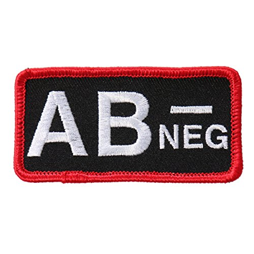 Hot Leathers, BLOOD TYPE AB NEG, High Thread Embroidered Iron-On / Saw-On, Heat Sealed Backing AB- NEGATIVE Rayon PATCH - 3