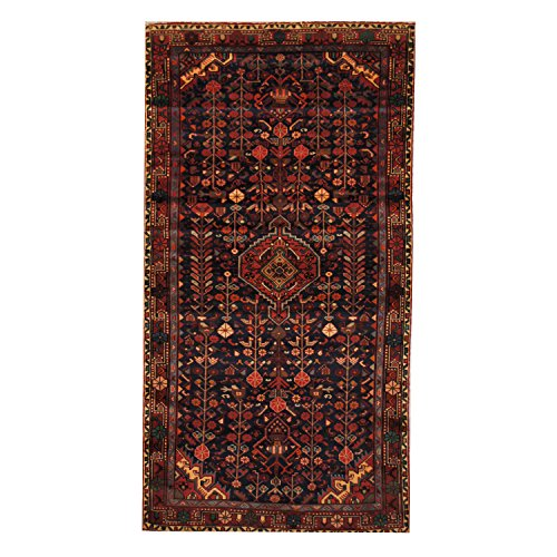 Herat Oriental SHOJ199 Antique 1970's Persian Hand-Knotted Tribal Lilihan Hamadan Wool Rug, 4-Feet 5-Inch by 8-Feet 7-Inch, Navy/Red Wool Hamadan Persian Area Rugs