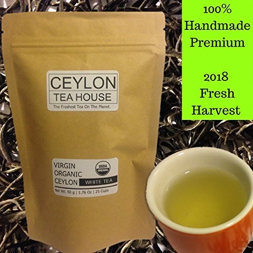 Ceylon White Tea - Virgin Organic Ceylon White Tea - Re-sealable Pouch (1.76 Oz| 25 Tea Cups) [loose leaf Tea, Herbal Tea, Detox Tea]