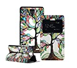 Tsmine Lenovo A536 Color Printed Case Window Folio Case - Smart Window View PU Leather Stand Flip Hard Case Cover for Lenovo A536 Android Smart Cell Phone 5.0 inch (The Tree of Life)