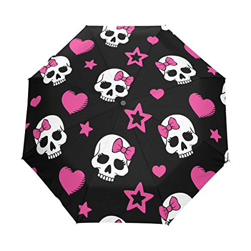 (Naanle Hearts and Skulls Pink Star Auto Open Close Foldable Windproof Travel Umbrella )