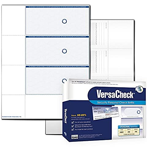 VersaCheck UV Secure PERSONAL Check Refills, Form 3001, Blue Elite, 250 Sheets