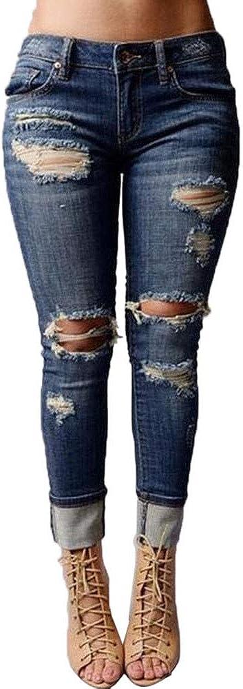 iLUGU Women Mid Waisted Skinny Hole Denim Jeans Stretch Slim Pants Calf Length Jeans Sweat Pants