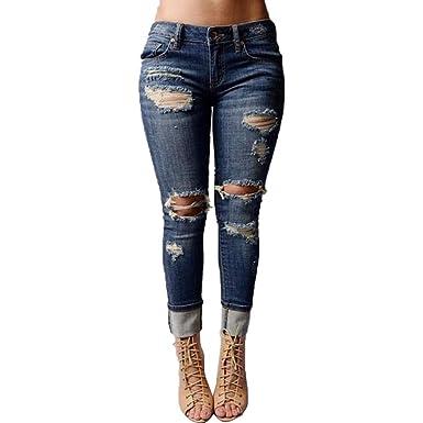 Beautyjourney Jean Wrangler Femme❤️Jeans Femme Taille Haute Slim Pantalon  Lin Femme Jean Rouge Femme Mi Taille Skinny Trou Denim Jeans Stretch Slim  ... 8eb70c224267