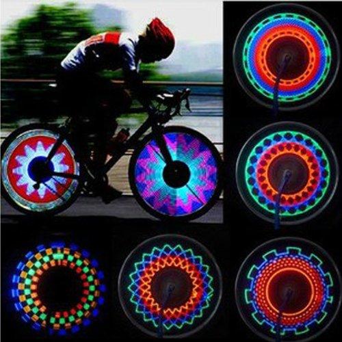 Cycling Bikes Bicycles Motorcycle Rainbow 32 Pattern 16 LED Wheel Signal Lights Lamp Tire Spoke Light
