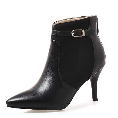 7d9c0c5c6844e OALEEN Bottines Femme Elégante Bi-matière Talon Aiguille Chaussures Boots Pointu  Hiver Noire 32
