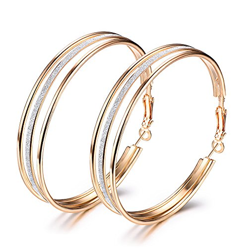 Junxin Women's Large Stainless Steel Pierced Fashion Hoop Earrings With Frosted,Silver And Golden (Golden)