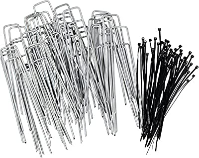 Stepton 100-Pack Galvanized Garden Pegs / Securing Lawn Staples / U Pins / Weed Fabric Stakes 6-Inches 11-Gauge Complete with Bonus 50 Cable Ties