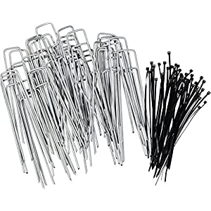 Stepton 100-Pack Galvanized Garden Pegs / Securing Lawn Staples / U Pins / Weed Fabric Stakes 6-Inches 11-Gauge Comes with 50 Cable Ties
