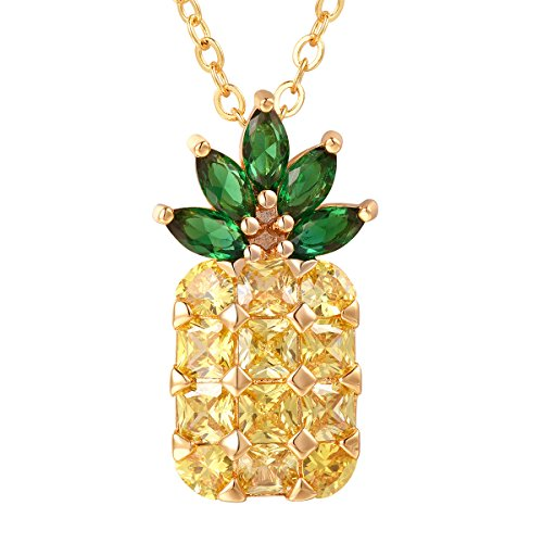 FOCALOOK Pineapple Necklace for Girls Fruit Brooch Yellow Cubic Zirconia Pendant Green Leaf 18k Gold Plated Chain Necklace