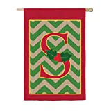 Chevron Stripe Burlap Holly Monogram S House Flag