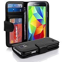 Cadorabo - Book Style Wallet Design for Samsung Galaxy S5 / S5 NEO (I5500) with 2 Card Slots and Money Pouch - Etui Case Cover Protection in OXID-BLACK